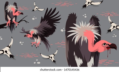 Vulture bird vector illustration. New Fashion Summer Sale Banner. Evil Vultures Modern Graphic Background. Exotic Invitation, Poster, Flyer or Card. Modern Front Page in Vector easy editable.