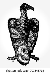 Vulture double exposure animals tattoo and t-shirt design. Indian Skull and mountains. Symbol of life and death