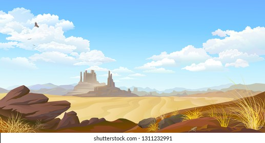 A vulture flying across the desert landscape. Over view of a flat desert landscape.