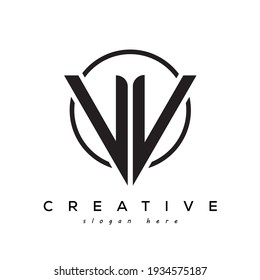 VV creative letter logo with gamming look