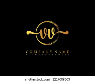 VV initial handwriting logo circle template vector
