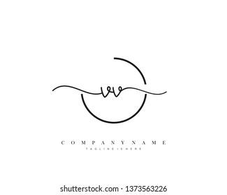 VV initial handwriting logo template vector
