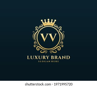 VV Initial Letter, Gold text with feminine floral hand drawn heraldic monogram, Antique vintage style luxury logo design.
