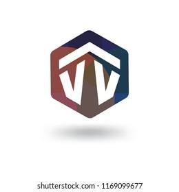 VV Initial letter hexagonal logo vector