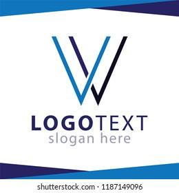 VV Letter Line Logo Element