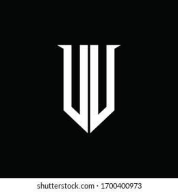 VV logo monogram with emblem shield style design template