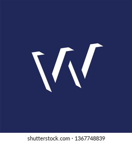 VV or W Initial Letter logo in negative space vector template