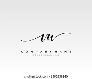 VW handwriting initial  logo vector