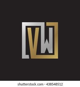 VW initial letters looping linked square elegant logo golden silver black background