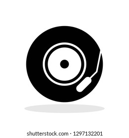 Vynil icon in flat style. Gramophone symbol for your web site design, logo, app, UI Vector EPS 10.