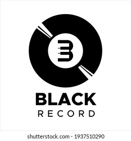 Vynil record and Piano with letter B. Black record logo design idea for company and website