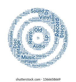 vynil word cloud. tag cloud about vynil