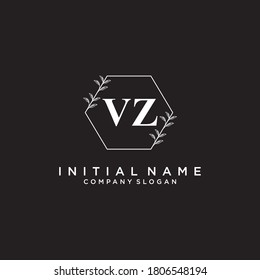 VZ Beauty vector initial logo, handwriting logo of initial signature, wedding, fashion, jewerly, boutique, floral and botanical with creative template for any company or business.