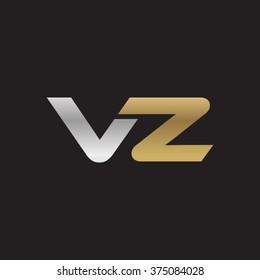 VZ company linked letter logo golden silver black background