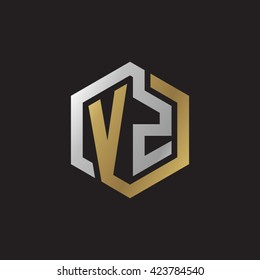 VZ initial letters looping linked hexagon elegant logo golden silver black background