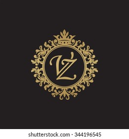 VZ initial luxury ornament monogram logo