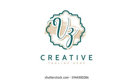 VZ Initials, handwriting logo vector