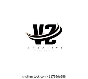 VZ Letter Creative Modern Monogram Elegant Three Swoosh Logo