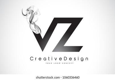 VZ Letter Logo Design with Black Smoke. Creative Modern Smoke Letters Vector Icon Logo Illustration.