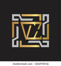 VZ Letter logo initial capital monogram with abstract ornament