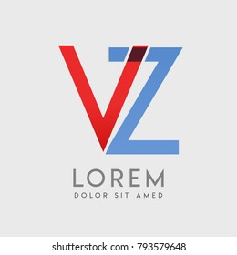 """VZ logo letters with """"blue and red"""" gradation"""