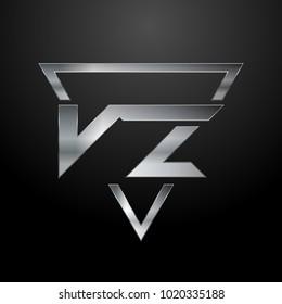VZ Logo, Metal Logo, Silver Logo, Monogram, Polygon