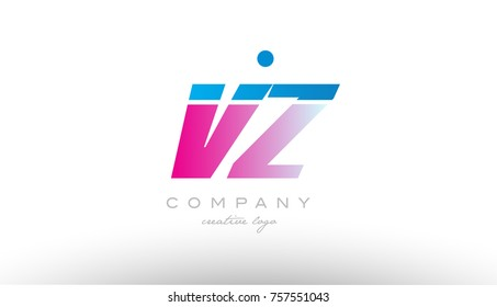 vz v z alphabet letter combination in pink and blue color. Can be used as a logo for a company or business with initials