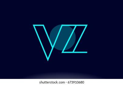 vz v z blue line circle letter logo alphabet creative company vector icon design template