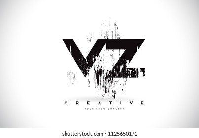 VZ V Z Grunge Brush Letter Logo Design in Black Colors. Creative Brush Letters Vector Illustration.
