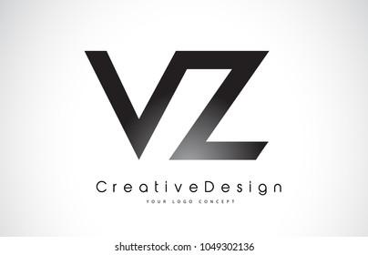 VZ V Z Letter Logo Design in Black Colors. Creative Modern Letters Vector Icon Logo Illustration.