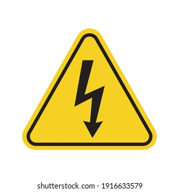 W 08 sign for print. High voltage warning symbol. Yellow safety icon.