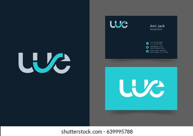 W E joint letter logo with business card template