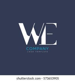 W E Letter logo Design