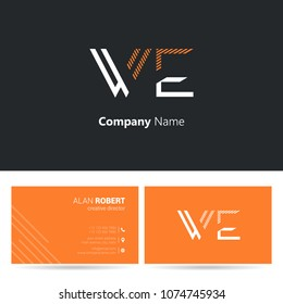 W & E line logo stroke letter design with business card template