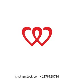 w and heart vector logo