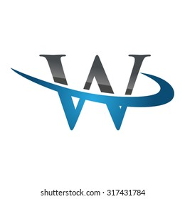 W initial company blue swoosh logo
