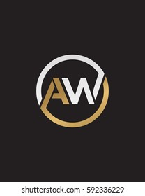 A W initial letters circle elegant logo golden silver black background