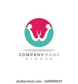 W Letter Community Care Logo Template