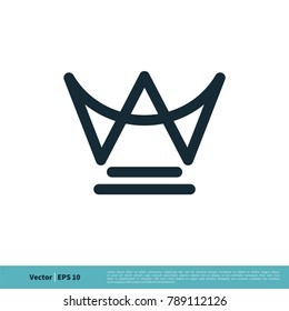 W Letter Crown Shape Icon Vector Logo Template
