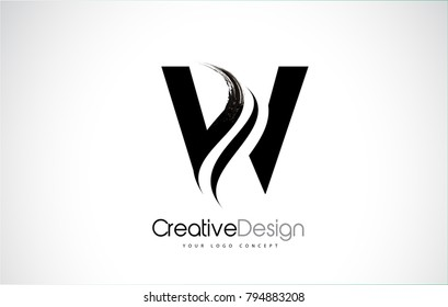 W Letter Design Brush Paint Stroke. Letter Logo with Black Paintbrush Stroke.