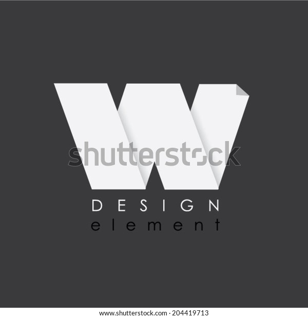 W letter design element in flat design style for business