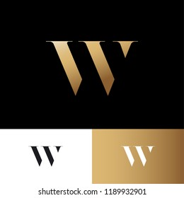 W letter. W gold logo. Royal jewelry emblem. Optical illusion gold monogram. Gold W logo on a dark background. Monochrome option.