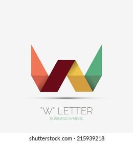 W letter icon, company logo, business symbol concept