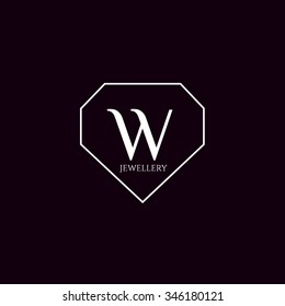 W letter jewellery vector logo template (sign, symbol, emblem, ornament)