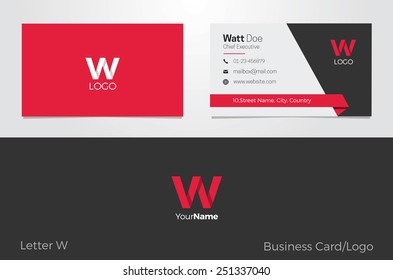 W Letter Logo Corporate Business card