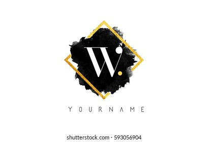 W Letter Logo Design with Black ink Stroke over Golden Square Frame.