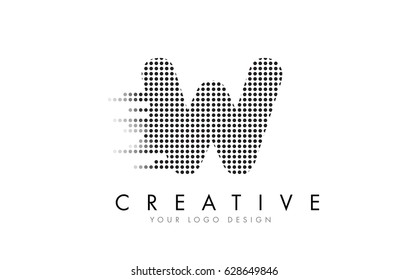 W Letter Logo Design with Black Dots and Bubble Trails.