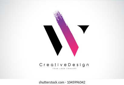 W Letter Logo Design with Creative Pink Purple Brush Stroke Vector Design Illustration.