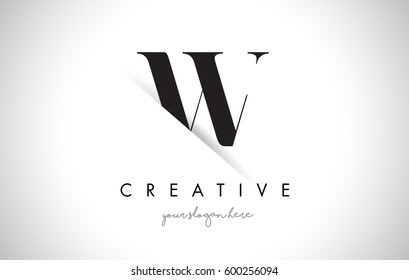 W Letter Logo Design with Creative Paper Cut and Serif Font.