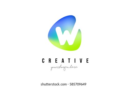 W Letter Logo Design with Oval Green Blue Shape Vector Illustration.